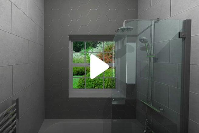 Grey Geometric Bathroom