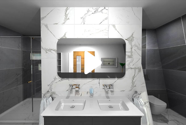 Marble Black and White Bathroom