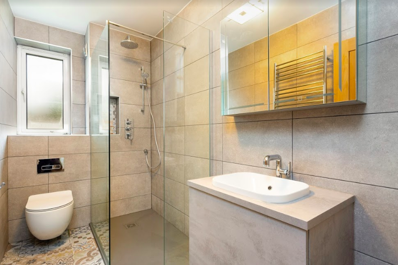 Modern Featured Tiles Grey Bathroom